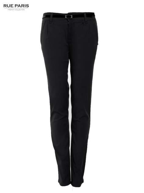 Czarne proste spodnie z paskiem