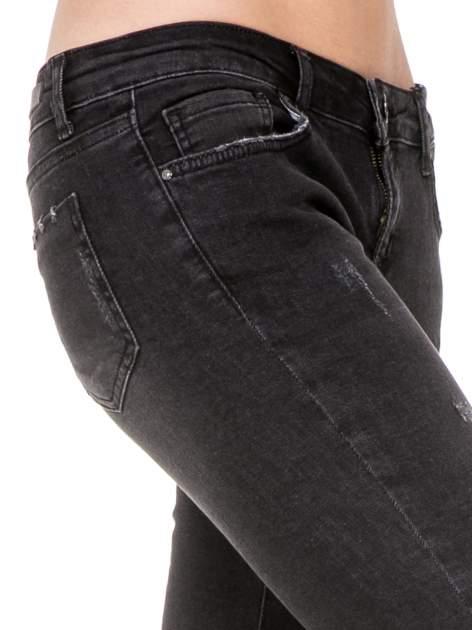 Czarne rozjaśniane spodnie jeansowe 7/8 z przetarciami                                  zdj.                                  7
