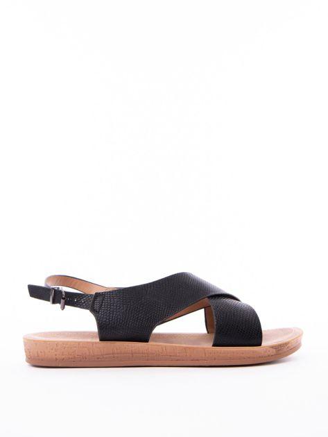 Czarne sandały Mulanka z tłoczoną fakturą                               zdj.                              1
