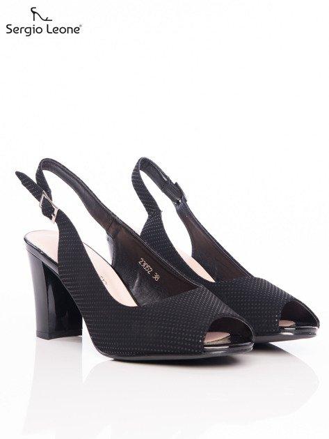 Czarne sandały Sergio Leone w tłoczone kropeczki                              zdj.                              2