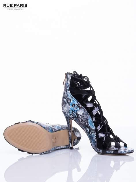 Czarne sandały gladiatorki z motywem snake print                                  zdj.                                  5