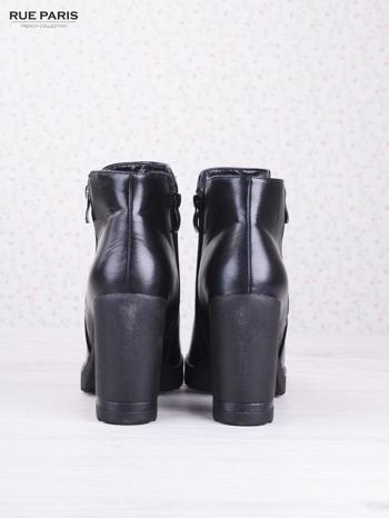 Czarne skórzane botki faux leather Dakota na słupku zapinane na suwak                                  zdj.                                  4