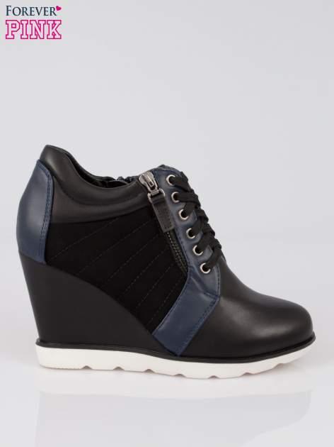 Czarne sneakersy damskie na traktorowej podeszwie                                  zdj.                                  1