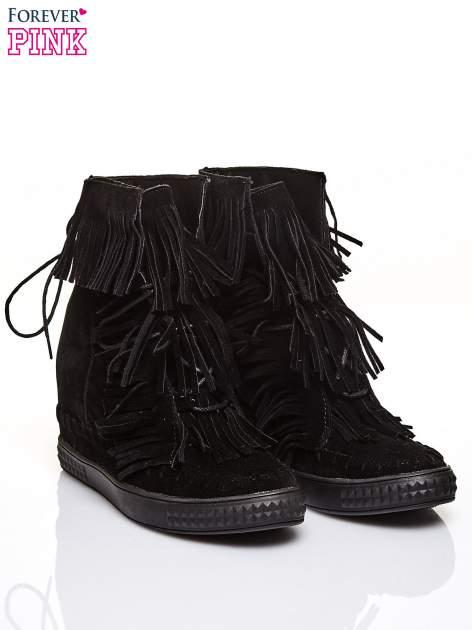 Czarne sneakersy damskie z frędzlami                                  zdj.                                  2