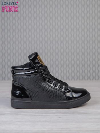 Czarne sneakersy z suwakiem i motywem skóry krokodyla