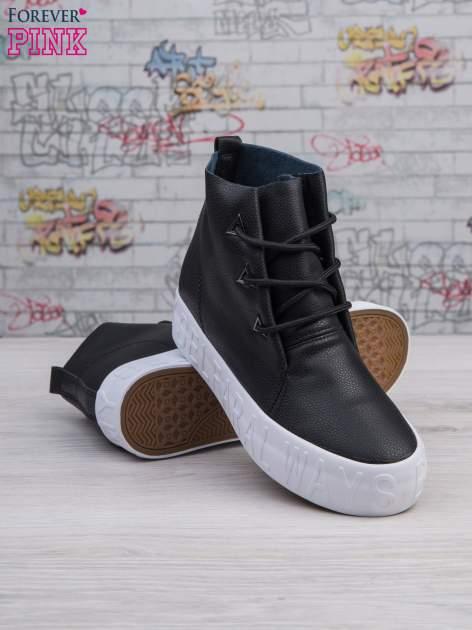 Czarne sneakersy za kostkę Ally z surowym wykończeniem                                  zdj.                                  4