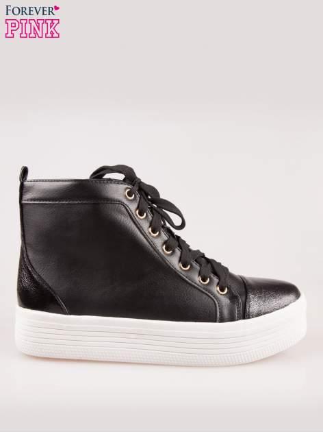 Czarne sneakersy za kostkę na grubej podeszwie