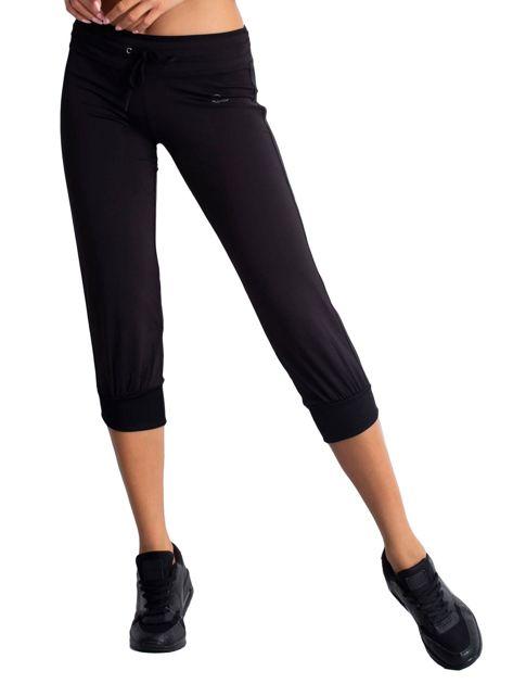 Czarne spodnie capri z troczkami                                  zdj.                                  5