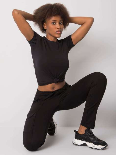 Czarne spodnie dresowe z kieszeniami Despina RUE PARIS