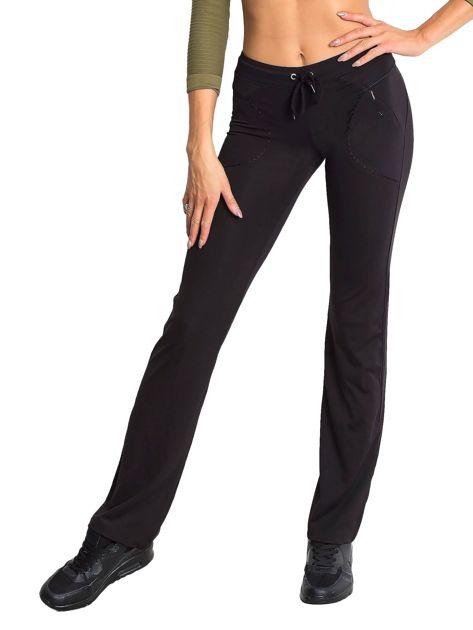 Czarne spodnie dresowe z wszytą kieszonką                                  zdj.                                  5
