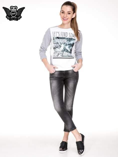 Czarne spodnie jeansowe 7/8 z rozjaśnianą nogawką                                  zdj.                                  2