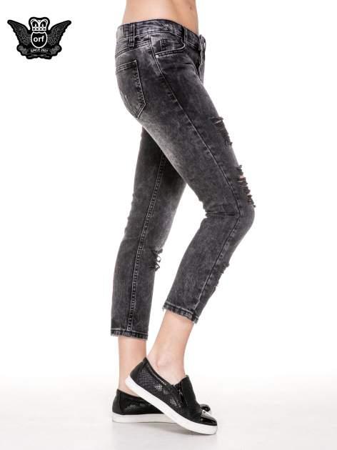 Czarne spodnie jeansowe rurki z dziurami przetarciami                                  zdj.                                  3