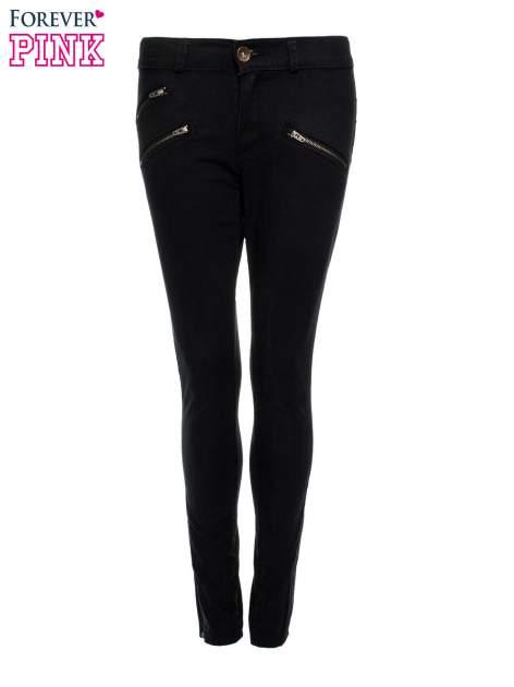 Czarne spodnie jeansowe typu skinny z suwakami na górze i przy nogawkach                                  zdj.                                  4