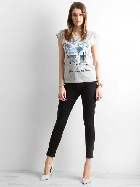 Czarne spodnie jeansowe z lampasami                              zdj.                              4