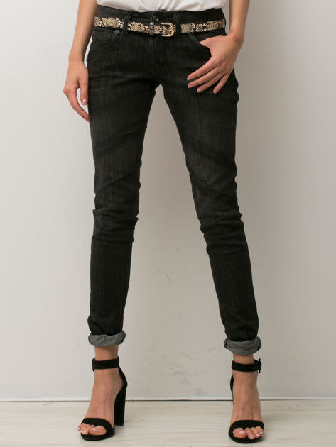 Czarne spodnie jeansowe z przetarciami                               zdj.                              1