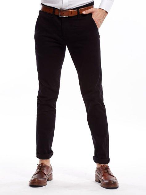 Czarne spodnie męskie chinosy o prostym kroju                              zdj.                              1