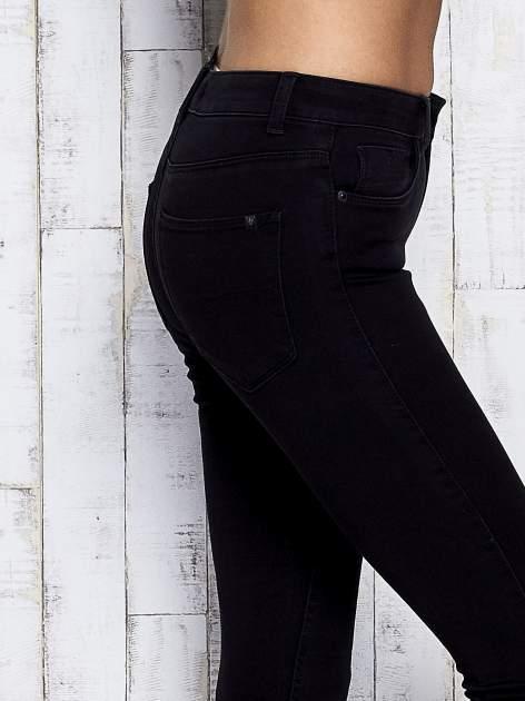 Czarne spodnie skinny jeans z napami                                  zdj.                                  5