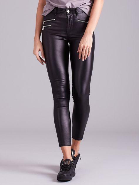 Czarne spodnie skinny z wysokim stanem                              zdj.                              1