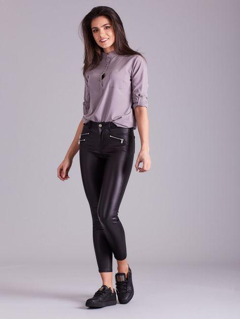 Czarne spodnie skinny z wysokim stanem                              zdj.                              4