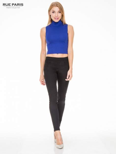 Czarne spodnie typu tregginsy z kieszeniami                                  zdj.                                  2