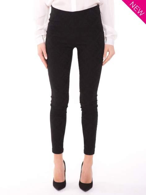 Czarne spodnie w orientalny wzór z żakardu                                  zdj.                                  1