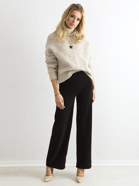 Czarne szerokie spodnie sztruksowe                              zdj.                              4