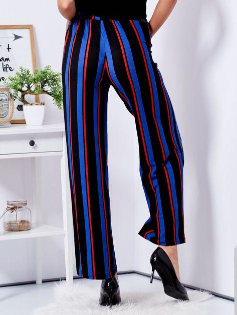 Czarne szerokie spodnie w paski                                  zdj.                                  2