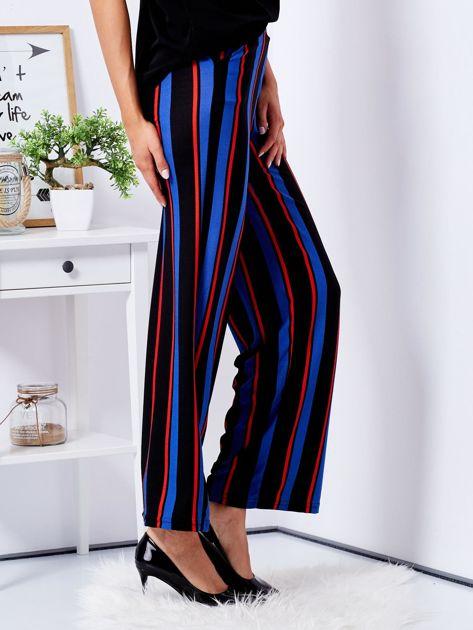 Czarne szerokie spodnie w paski                              zdj.                              5