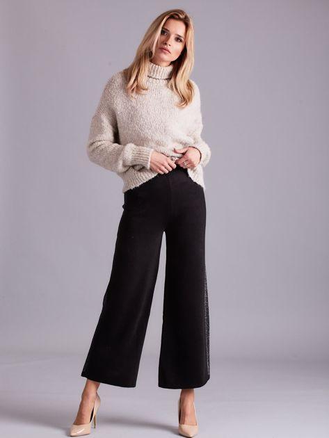 Czarne szerokie spodnie z dzianiny                              zdj.                              4