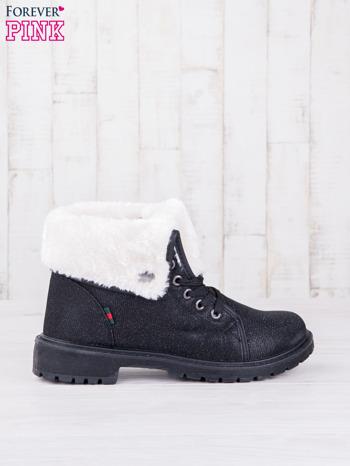 Czarne sznurowane botki eco leather Chill z futrzanym kołnierzem i srebrzystą nitką                                  zdj.                                  1