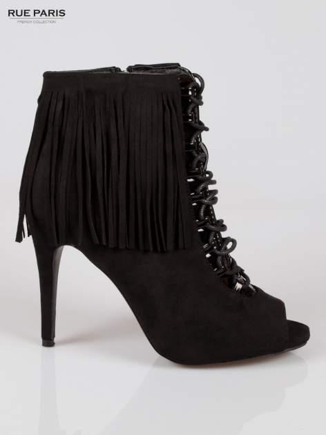 Czarne sznurowane botki faux suede Ophelia open toe z frędzlami                                  zdj.                                  1