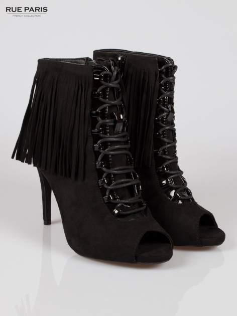 Czarne sznurowane botki faux suede Ophelia open toe z frędzlami                                  zdj.                                  2