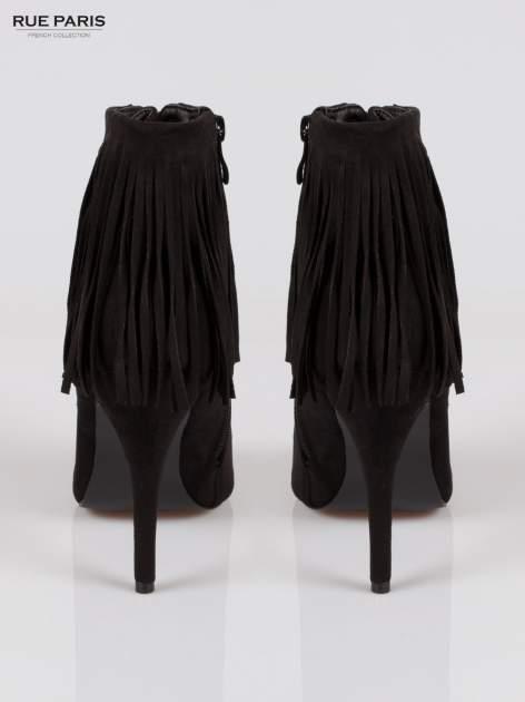 Czarne sznurowane botki faux suede Ophelia open toe z frędzlami                                  zdj.                                  3