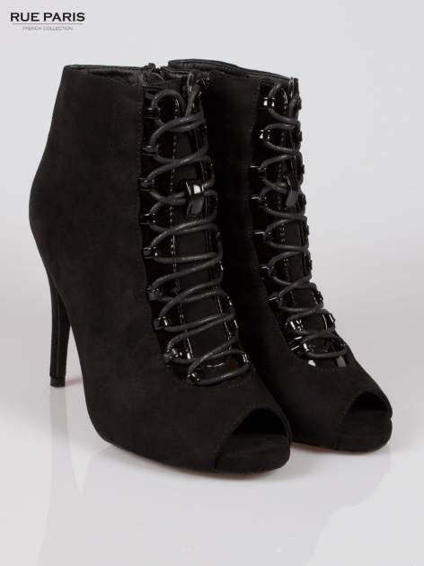 Czarne sznurowane botki faux suede Trish open toe                                  zdj.                                  2