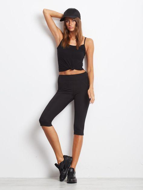 Czarne termoaktywne legginsy do biegania 3/4 z błyszczącymi lampasami ♦ Performance RUN                                  zdj.                                  3