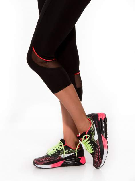 Czarne termoaktywne legginsy do biegania 3/4 z fluoróżowymi lampasami ♦ Performance RUN                                  zdj.                                  8