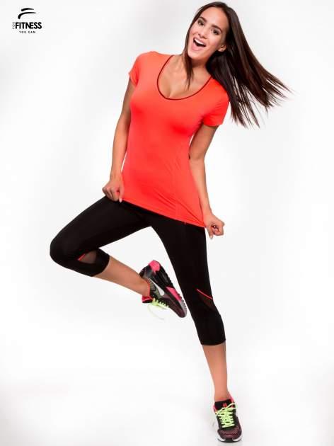 Czarne termoaktywne legginsy do biegania 3/4 z fluoróżowymi lampasami ♦ Performance RUN                                  zdj.                                  2