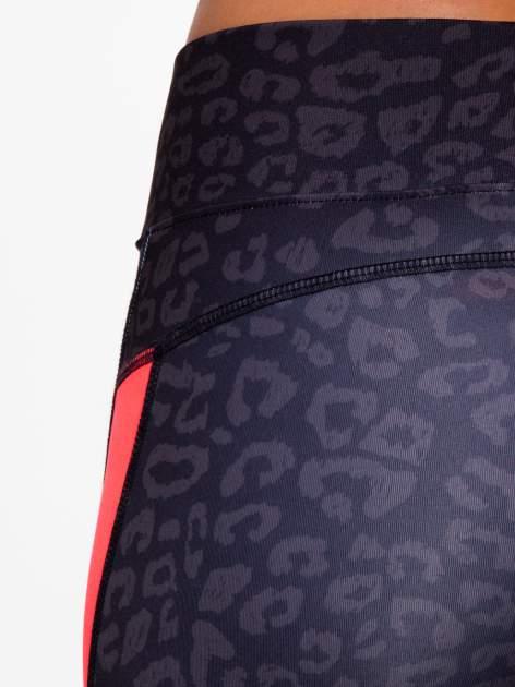 Czarne termoaktywne legginsy do biegania w panterkę z fluoróżowymi wstawkami po bokach ♦ Performance RUN                                  zdj.                                  8