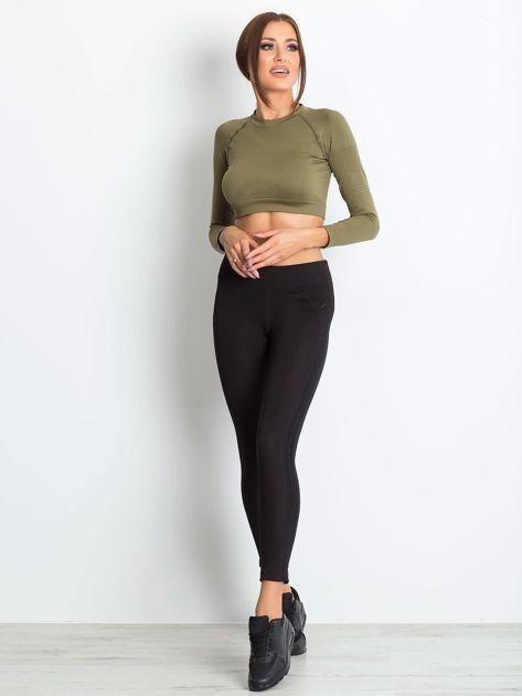 Czarne termoaktywne legginsy do biegania z błyszczącymi lampasami ♦ Performance RUN                                  zdj.                                  3