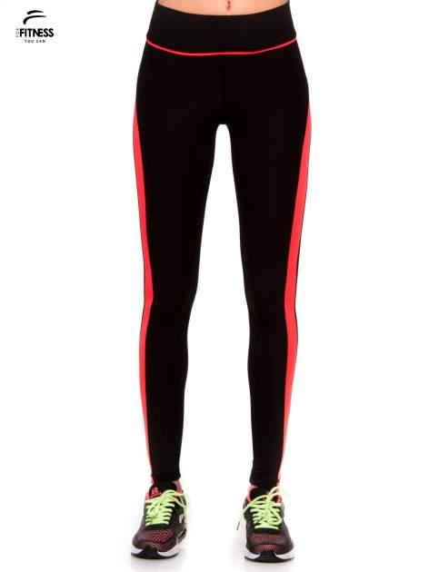 Czarne termoaktywne legginsy do biegania z fluoróżowymi lampasami ♦ Performance RUN                                  zdj.                                  1