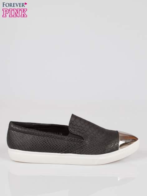 Czarne wężowe buty slippers silver cap toe                                  zdj.                                  1