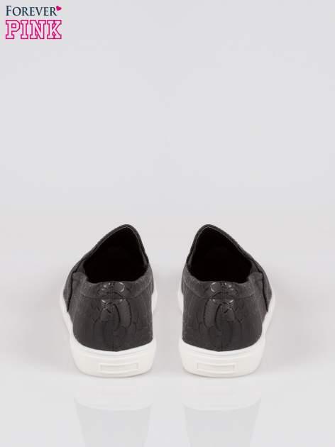 Czarne wężowe buty slippers silver cap toe                                  zdj.                                  3