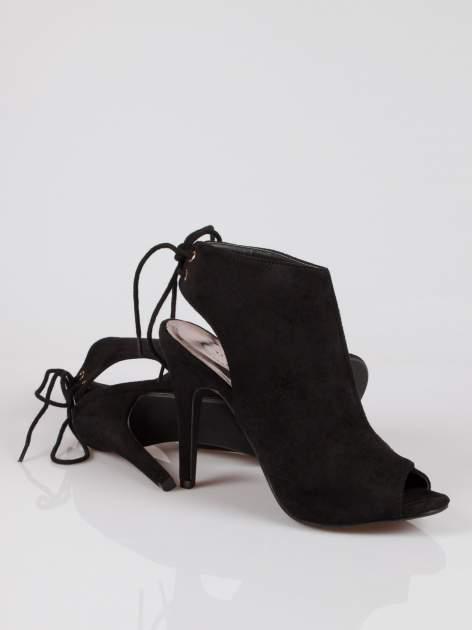 Czarne wiązane botki lace up z odkrytą piętą                                  zdj.                                  4