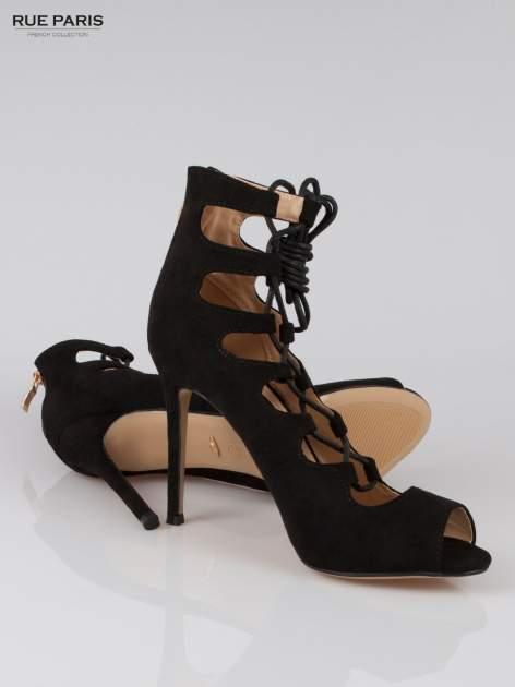 Czarne wiązane szpilki gladiatorki lace up                                  zdj.                                  4