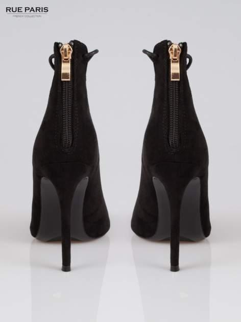 Czarne wiązane szpilki lace up z zamkiem                                  zdj.                                  3