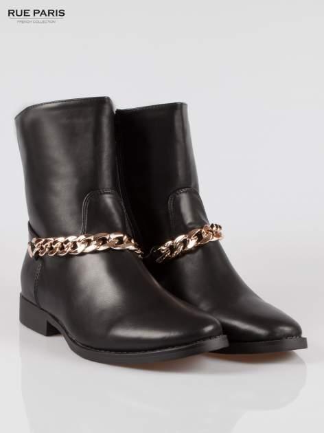 Czarne wysokie botki biker boots ze złotym łańcuchem                                  zdj.                                  2