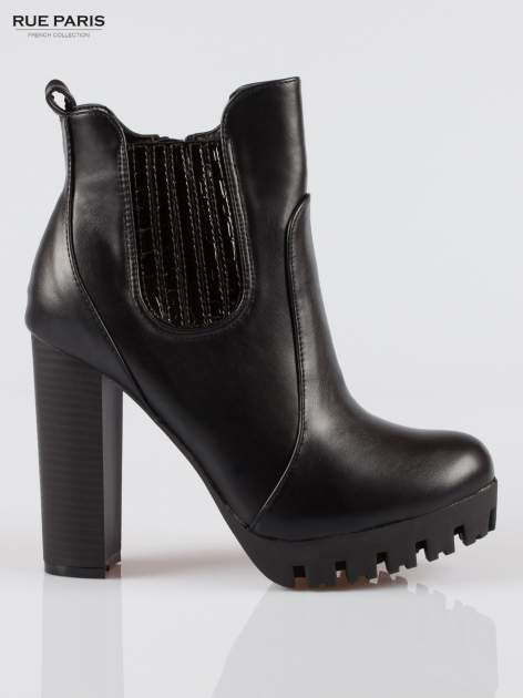 Czarne wysokie botki na platformie stylizowane na sztyblety                                  zdj.                                  1