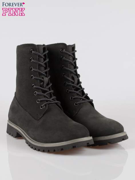 Czarne wysokie buty trekkingowe traperki damskie ze skóry naturalnej                                  zdj.                                  2