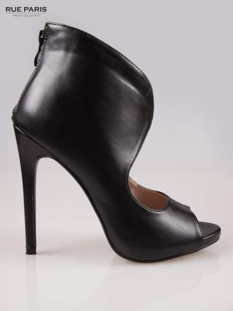 Czarne zabudowane szpilki peep toe