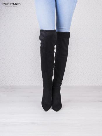 Czarne zamszowe kozaki faux suede na szpilkach wiązane w kolanach                                  zdj.                                  1
